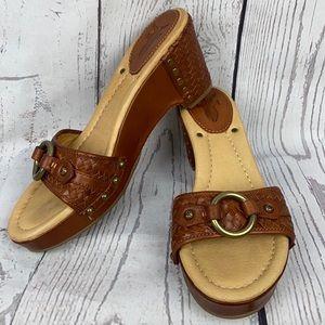 FRYE Isabella Ring Slide Leather Wedge Sandals 8.5